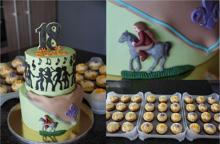 Thema: 18 jaar, scouts, de jarige en haar paard, dansen en feesten Taart: bananencake met bananencrème en verse banaan - biscuit met chocomousse Cupcakes: een deel bananen cupcakes en een deel vanille cupcakes