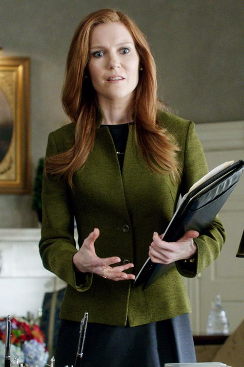 """Max Mara"" avocado green and black woven check Acciuga Jacket worn by Abby Whelan (Darby Stanchfield) on Scandal, Season 4."