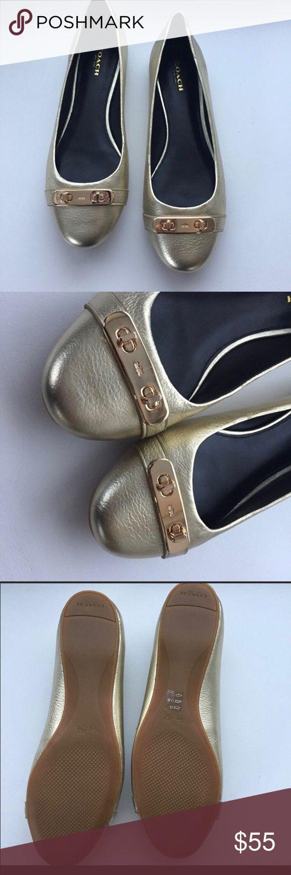 NWOT COACH gold ballet flats. Size 8 NWOT COACH gold ballet flats. Beautiful gold shoe, with gold plate detail. Size 8. Coach Shoes Flats & Loafers