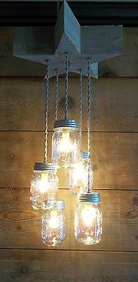 Mason Jar Light Fixture Chandelier Grey BARN WOOD STAR Light Rustic Primitive