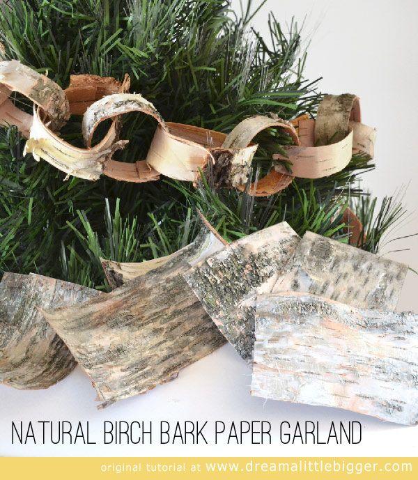 natural birch bark paper garland