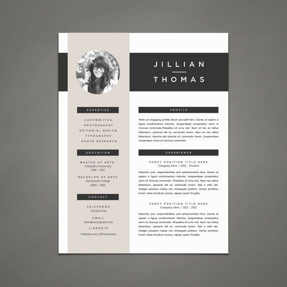Professional Resume Template and Cover Letter Template for Word | DIY Printable 4 Pack | The Jillian | Modern and Creative 2 Page CV Design