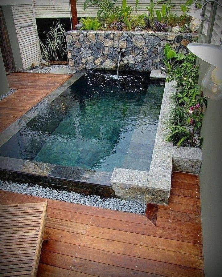 Mungil Tapi Nyaman Bagaimana Menurutmu Yes Or No Semoga Terinspirasi Pinterest D Small Backyard Pools Small Pool Design Backyard Pool