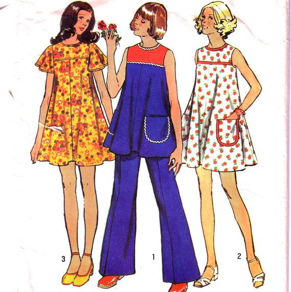 Maternity Dress or Tunic and Pants Pattern. Short dress with angel sleeves. Vintage dress pattern £4.00 https://www.etsy.com/listing/152957121/maternity-dress-or-tunic-and-pants