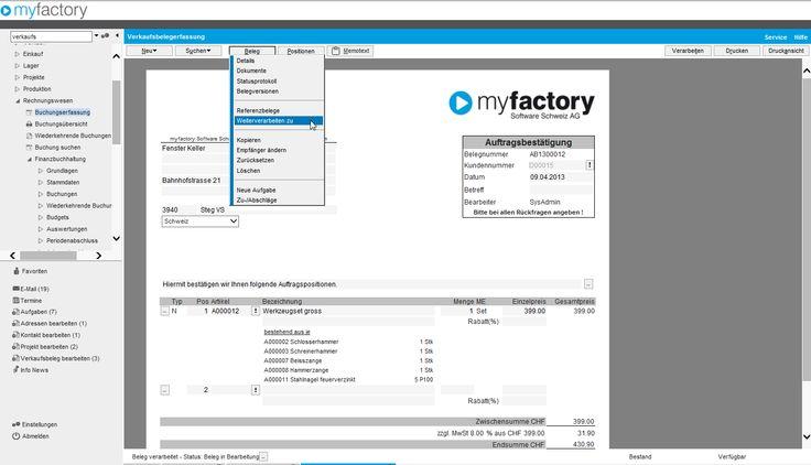 Neues Design in myfactory V5.0, hier die Belegerfassung.