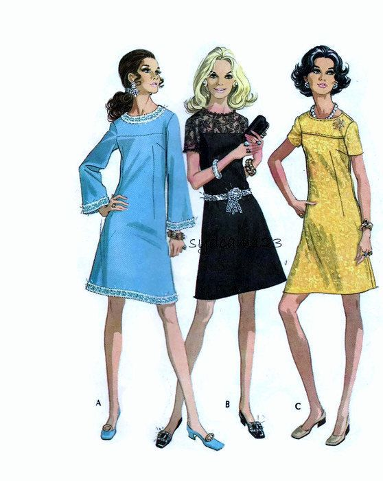 Vintage 1960s Pattern Yoked A Line Mod Dress Short or Long Bell Sleeves 1969 McCall's 2163
