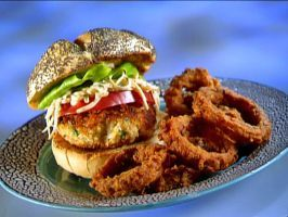 open face crab burgers with red pepper dressing open face crab burgers ...