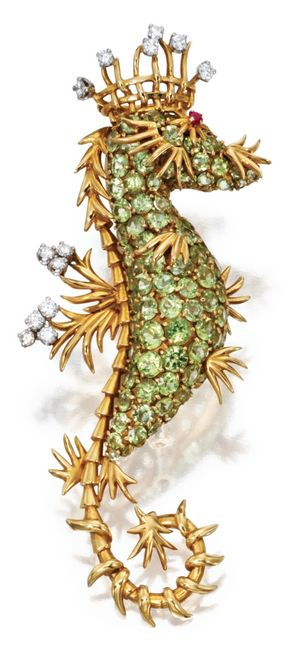 "Peridot, Diamond And Ruby ""Seahorse"" Brooch Mounted In 18k Gold, By Jean Schlumberger for Tiffany & Co. - France   -   Sotheby's"