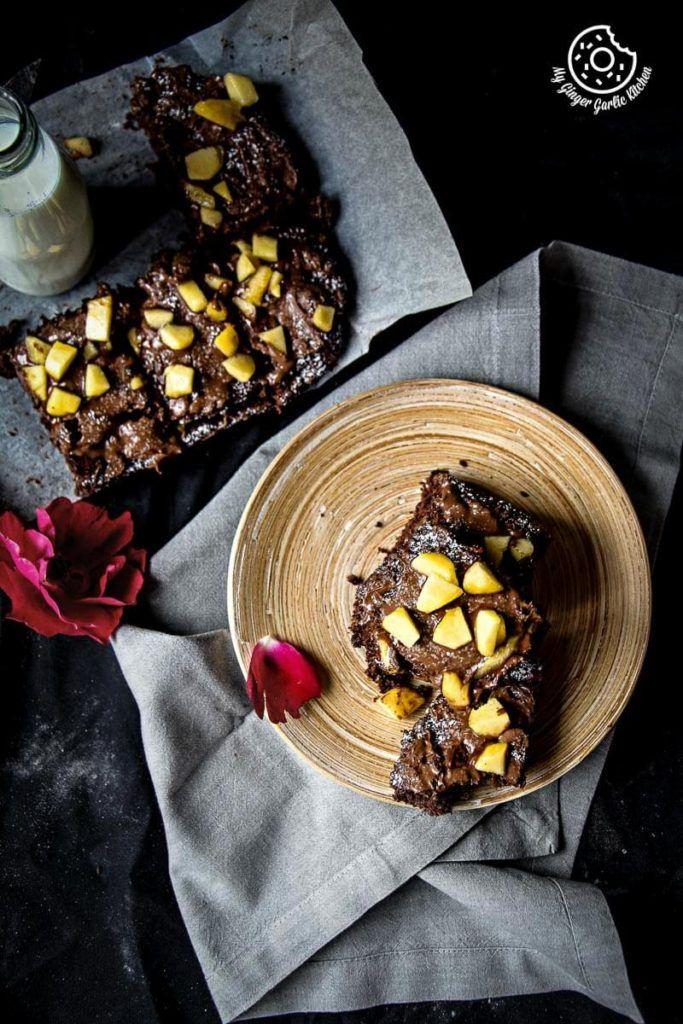 Peach Chocolate Eggless Brownies | mygingergarlickitchen.com/ @anupama_dreams