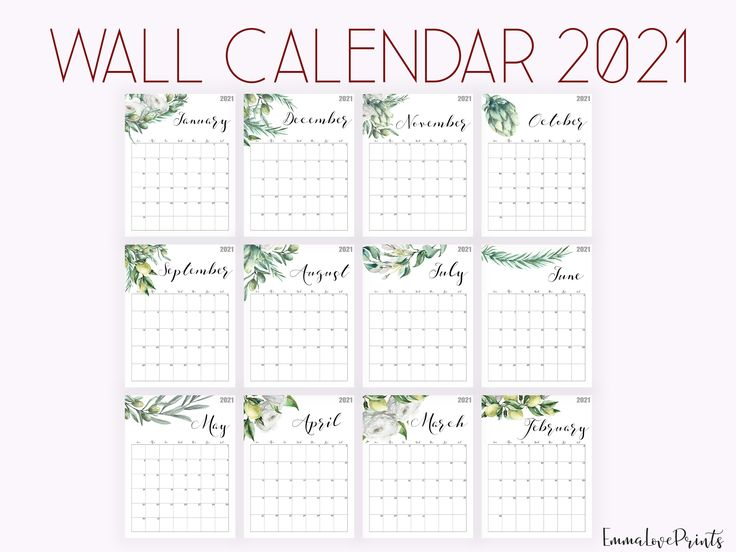2021 Calendar Watercolour Calendar 2021 Botanical Wall ...