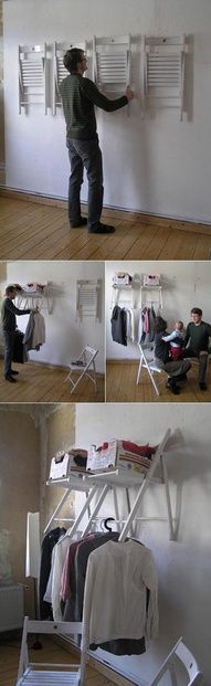 hanging chairs become shelves and storage
