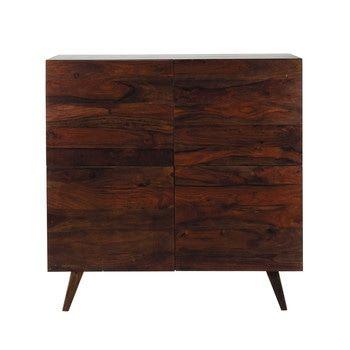 Bruin massief sheesham-houten vintage hoog dressoir B 120 cm - Soho
