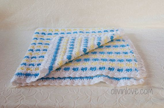 Blue&White Baby Blanket by OLIVINLOVE on Etsy