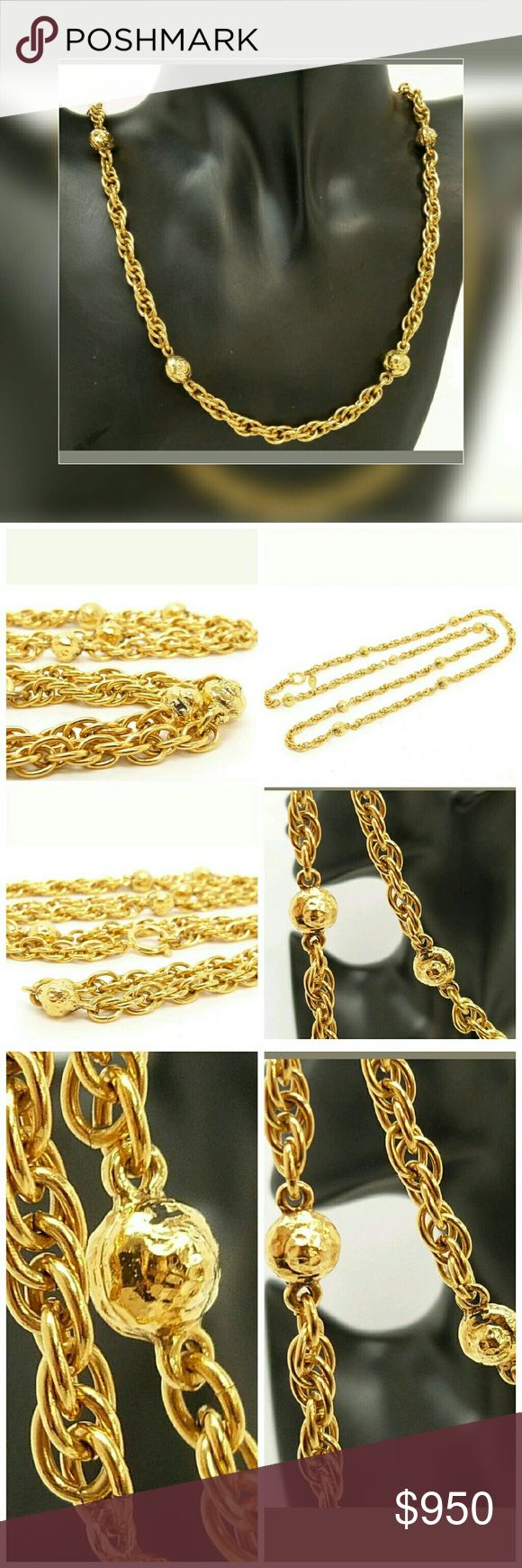 """🍃🌸Chanel Gold Chain Necklace Authentic long gold chain necklace with CC logo charms. Can be worn as a long necklace or doubled up to make 2 tier necklace. 36"""" length Authentic Hat charm has been added to make this a one of a kind unique necklace. CHANEL Jewelry Necklaces"""