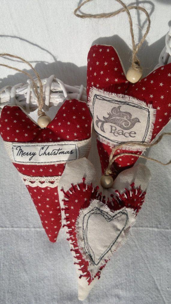 Ensemble de trois Noël rouge et blanc coeur tissu ornement /Hanging décoration