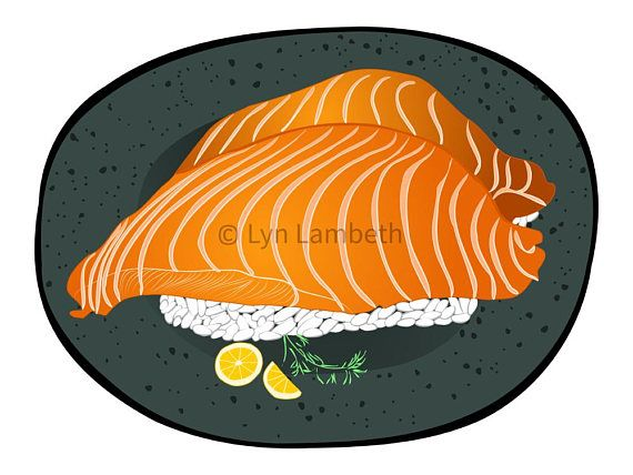 Food clip art, sushi illustration, instant download, seafood recipe clipart