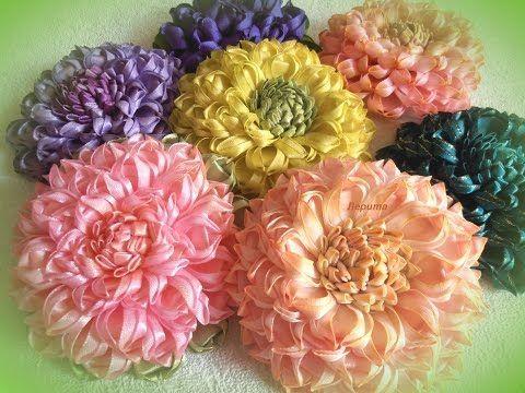 Георгин 'Ника', цветы канзаши из ленты 2,5 см, лепесток 'слойка'.