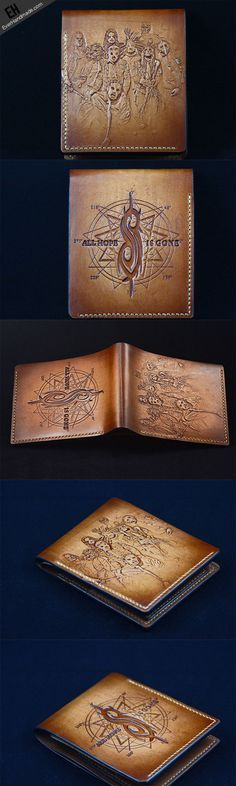 Handmade custom Slipknot band carved leather short wallet for men #Slipknot  Link:http://www.everhandmade.com/collections/short-wallets/products/handcraft-handmade-custom-slipknot-band-carved-leather-short-wallet-for-men