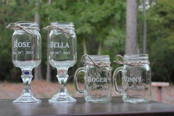 20 Mason jars, 10 Redneck Wine Glasses , 10 mason jar mugs, Wedding Party, Mason jars, 20 on Etsy, $210.00