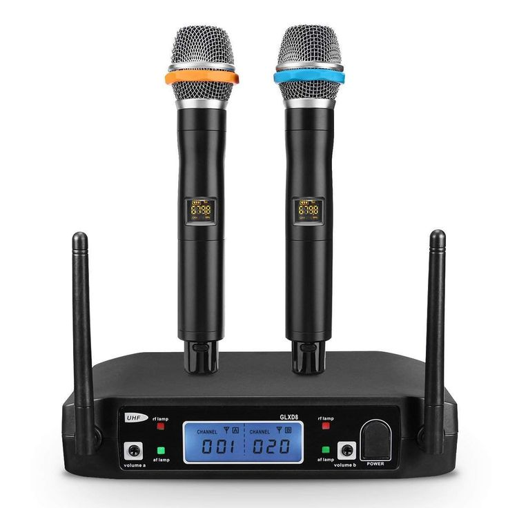 Features1.Model: GLXD8-B 2.2 Channel Receiver with 2 Handheld Microphones3.LCD display showing Channel Frequency4.Range 100 Meters5.Connect with computer,speake