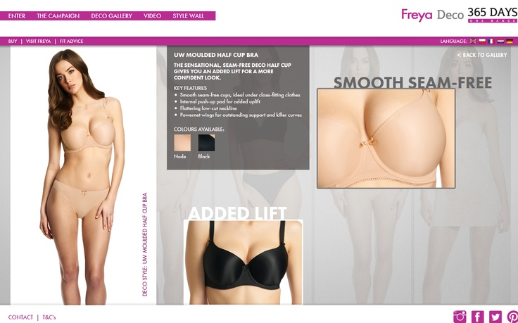 The Deco Moulded Half Cup by Freya Lingerie    KEY FEATURES    -Smooth seam-free cups, ideal under close-fitting clothes  -Internal push-up pad for added uplift  -Flattering low-cut neckline  -Powernet wings for outstanding support and killer curves    #Freyadeco365
