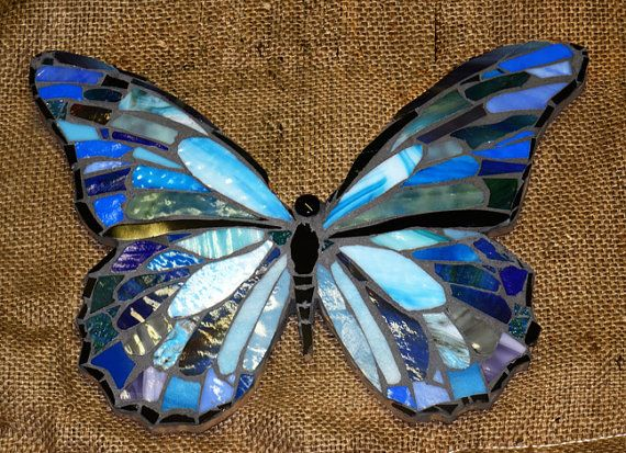 Blue Morpho Stained Glass Butterfly by thewindycity312 on Etsy