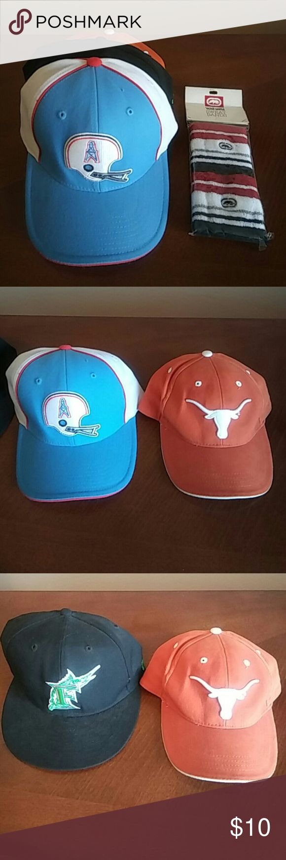 Lot of Hats plus a pack of wrist bands Lot of hats:  Florida Marlins, Houston Oilers, Texas Long Horn and an unopened pack of ecko sweat bands Accessories Hats