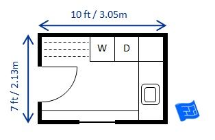 Mid size 7 x 10ft (2.13 x 3.05m) laundry room sized for European appliances. Lots of storage and big drying rack and room to iron inside. Click through to the website for more commentary on this laundry room floor plan and more laundry design.