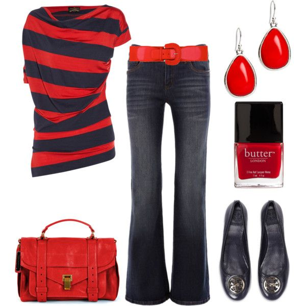 Navy & red, a classic combo.