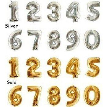 1 шт. горячая 16 дюймов золото серебряная фольга на день рождения рисунок количество воздушные шары, день рождения свадьба ну вечеринку украшения ремесло воздушные шары Y50 MPJ211