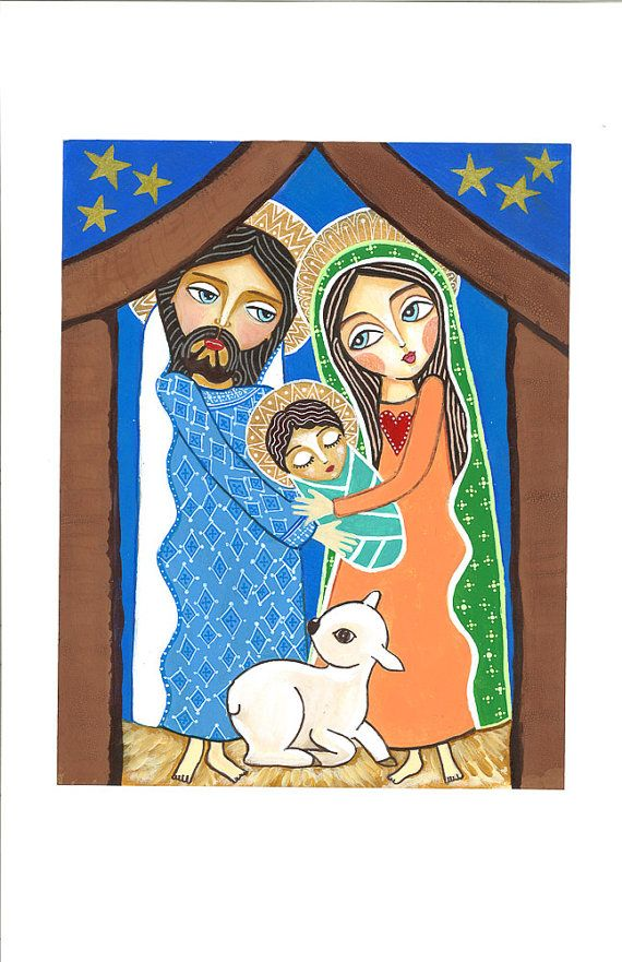 Folk Art  Painting Holy Family Print  9x11 inches by Evonagallery, $20.00