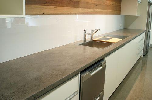Polished concrete benchtop kitchen.