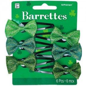 St. Patrick's Green Barrettes-6 pieces