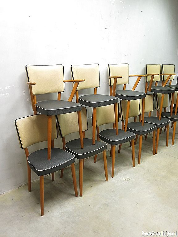Partij fifties design eetkamer stoelen dinner chairs vintage retro loft jaren 50 www.bestwelhip.nl