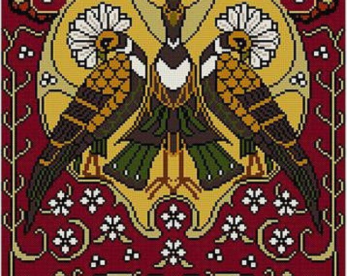Natuur Panel No. 5 Crested vogels en bloemen Cross stitch patroon PDF Art Nouveau