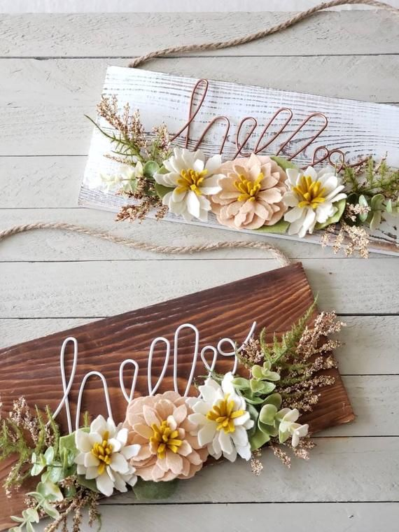 Hello Wood Wall Hanging Felt Succulent Wall Hanging Felt Flowers Wood Signs Farmhouse Signs Hello Signs Felt Flowers Succulent Wall Hanging Wood Wall Hanging
