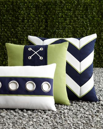 Crisp and fun if you like the nautical look! The grommeted pillow would be cool (w/out the other pillows) in a room with navy or lime green accents.