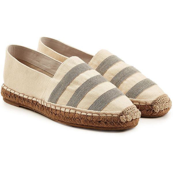 Brunello Cucinelli Embellished Cotton Espadrilles (€845) ❤ liked on Polyvore featuring shoes, sandals, beige, espadrille sandals, beaded shoes, espadrilles shoes, embellished shoes and round toe shoes