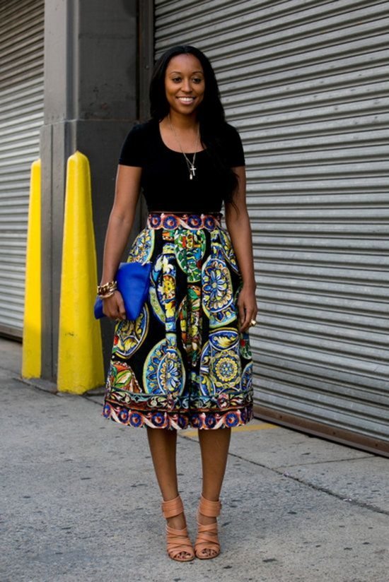 Best Street Style at NYFW Spring 2014 | Shiona Turini killing it in a big bold skirt