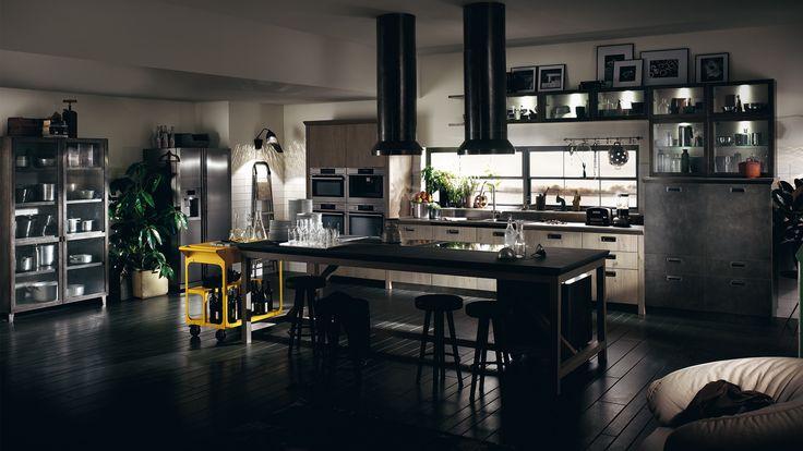cucina Diesel Social Kitchen Industrial Kitchen Design Ideas With Modern Black Cabinets And Chandelier
