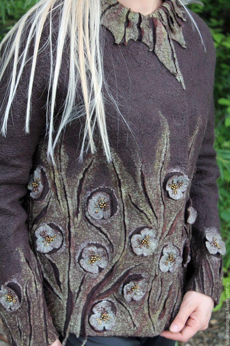 Купить Жакет валяный Ванильный трюфель - коричневый, цветочный, жакет женский, жакет валяный