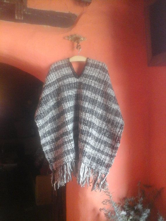 Hand Woven Poncho  /Cafe & Beige/ Wool Ruana/ Unisex by CasaLunaCo