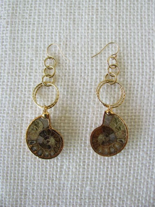 Ammonite earrings.  Hmm. I was given an ammonite necklace years ago but haven't worn it (too big).