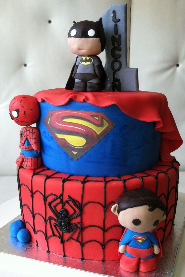 first birthday super hero cake- spiderman, superman, batman