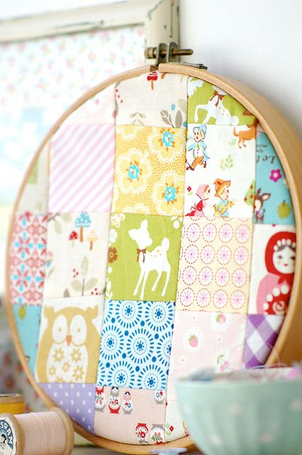 Patchwork embroidery hoop
