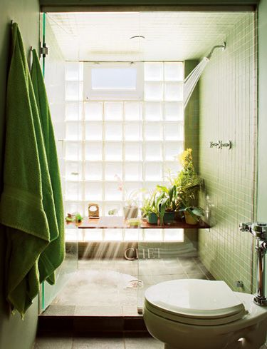 Lovely green shower, natural light, with a plant shelf inside!