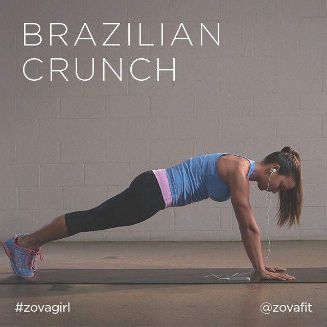 "zovafit: "" The Brazilian crunch is a challenging exercise that activates your entire core. Starting in a plank position, drive your knee up towards your tricep (the back of your arm). As your knee..."