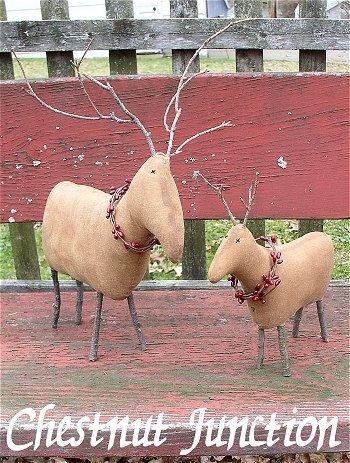 Primitive Reindeer EPATTERN - primitive country christmas cloth doll ornament craft digital download sewing pattern - PDF - 1.99