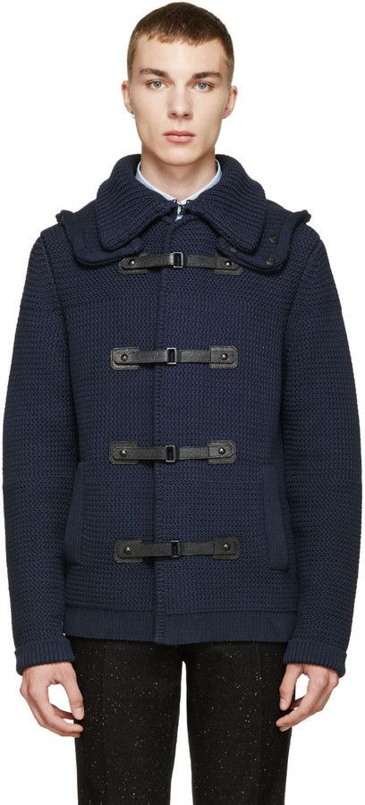 $798, Burberry London Blue Knit Collington Duffle Coat. Sold by SSENSE. Click for more info: https://lookastic.com/men/shop_items/370455/redirect