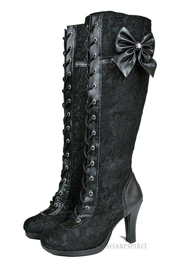 Steampunk Lolita Cosplay Goth Victorian Demonia Boots #Brand #FashionKneeHigh